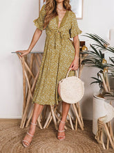 Lace-Paneled Ruffled Sleeve   Printed Dress