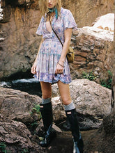 Printed Waist With Short Sleeve Mini Dress