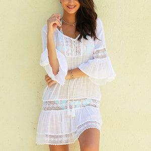 Lace Drawstring Trumpet Sleeve Beach Dress Bikini Blouse Seaside Vacation Sunscreen