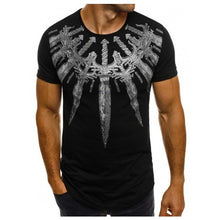 Solid Color Long Sword Print Round Neck Short Sleeve