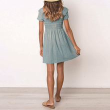 Solid Color Stitching Short   Sleeve Mini Dress