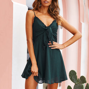 Sexy Halter Sling With Bow Solid   Color Dress