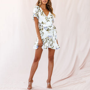 Summer Fashion V-Neck Leaf Print Lace Up Dress