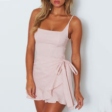 Solid Color Sexy Sling Wrapped Chest Square Mini Dress