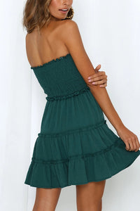 Summer Off-The-Shoulder Wrapped Chest Stitching Solid Color Dress
