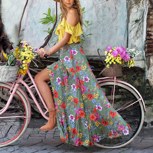 Bohemian Beach Holiday Two-Piece Set Pleated Printed Dress