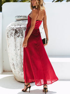 Solid Color Sling Big Skirt With Open Strap Strapless Halter Dress