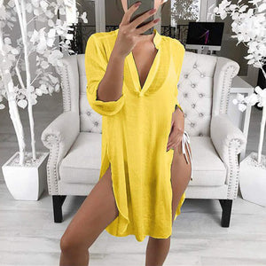 Spring And Summer Solid Color V-Neck Tie Slit Long-Sleeved Dress