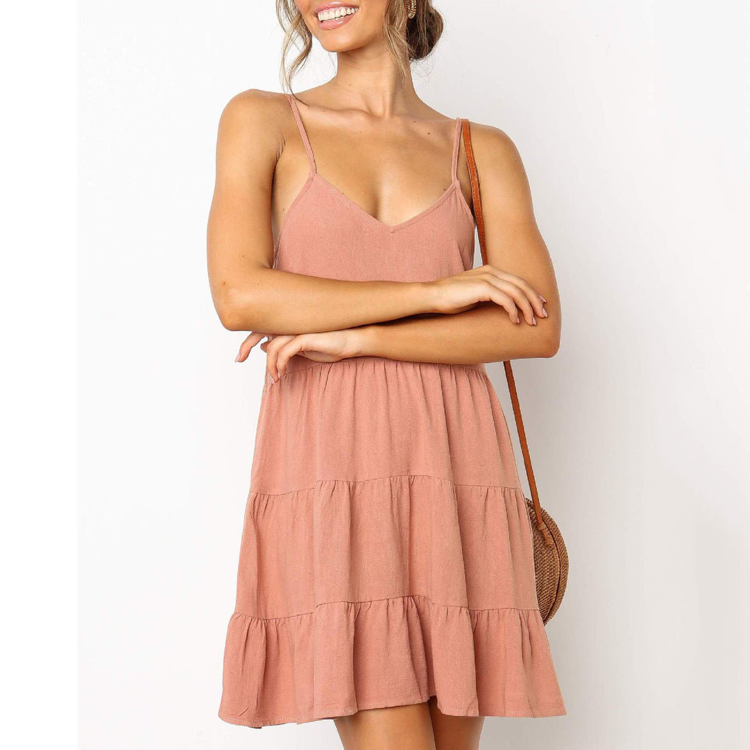 Sexy Suspenders Halter Cotton   And Linen Mini Dress