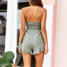 Sexy Chest Knotted   Off-The-Shoulder Ruffled Halter Jumpsuit
