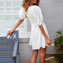Casual White Puff Sleeve Mini   Dress