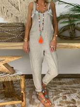 Fashion Casual Sleeveless Cotton   And Linen Jumpsuit