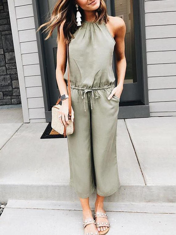 Casual Hanging Neck Tie Straps   Jumpsuit