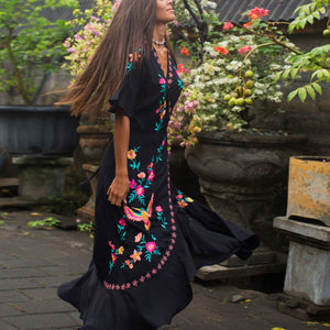 2019 Summer New Short-Sleeved Embroidered Ruffled Stitching Bohemian Dress