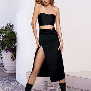 Fashion Wrapped Chest Irregular Slit Dress Set