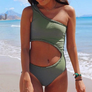 2019 New Sexy One-Shoulder One-Piece Swimsuit