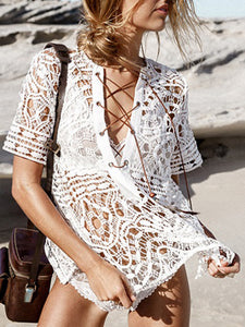 Lace Hook Flower Perspective Swimwear Blouse Short-Sleeved Hook Flower Sunscreen Clothing