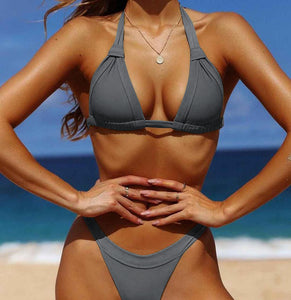 Bikini Sexy Swimsuit Set Solid Color Women Swimwear