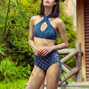 Summer Hanging Neck Cross Wrap Chest Hollow High Waist Bikini Knit Split Swimsuit