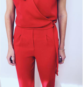 Fashion V-Neck Pocket With Lace   Tie Jumpsuit