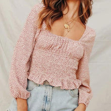 Small Floral Square Collar Lace   Slim Pleated Top