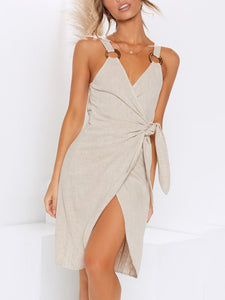 Sexy Sling V-Neck Irregular Mini   Dress