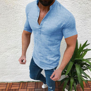 Solid Color V-Neck Half-Open Stand Collar Short-Sleeved Shirt