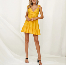 Solid Color V-Neck Halter Strap With Ruffled Strap Mini Dress