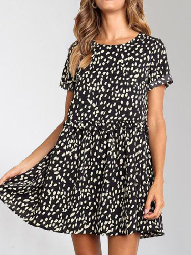 Round Neck Short Sleeve Wooden   Ear Print Mini Dress