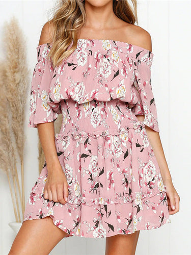 Off-The-Shoulder Sexy High-Waist   Printed Mini Dress