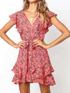 Printed High-Rise Strap A-Line   Chiffon Mini Dress