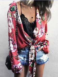 Sexy Lapel Print Tie Knot Loose   Long Sleeve Shirt