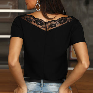 Wild V-Neck Lace Stitching Top