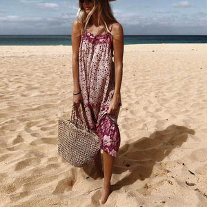 Bohemian Printed Halter Strap   Dress