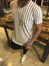 Men's Striped Crew Neck Casual T-Shirt