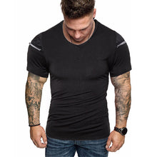Men's Solid Color Slim Shoulder Zipper Casual Short Sleeve T-Shirt