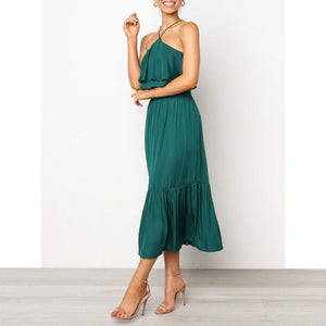 Summer Fashion Sling Wrapped Chest And Backless Two-Piece Pleated Skirt