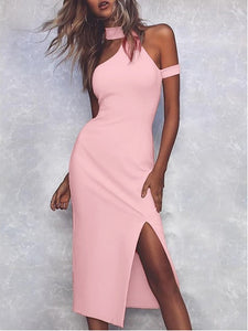 Women's Sexy Strapless Long Solid Color Dress