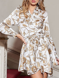 Fashion Metal Chain Printed Lace-Up Slim Long-Sleeved Shirt Dress
