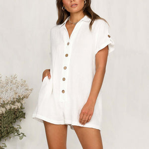 Fashion Loose Short Sleeve Shirt Button Jumpsuit