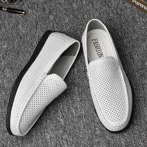 Summer Leather Hollow Moccasin-Gommino Men's Casual Shoes Loafer Large Size Punching Shoes