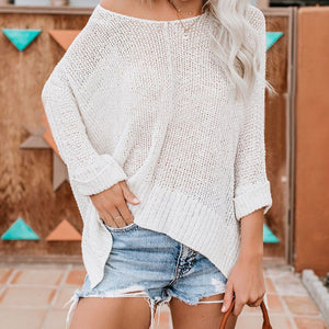Loose Strapless Long Sleeve   Sweater Top