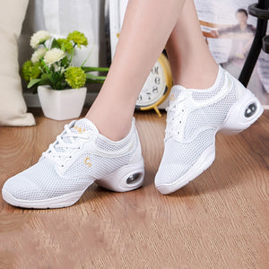 Fashion Hit Color Cushion Mesh Breathable Soft Bottom Dance Shoes