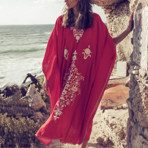 Vacation Leisure Beach Bikini Blouse Cotton Embroidered Loose Robes Dress