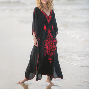 Vacation Leisure V-Neck Beach Bikini Blouse Embroidered Loose Robes