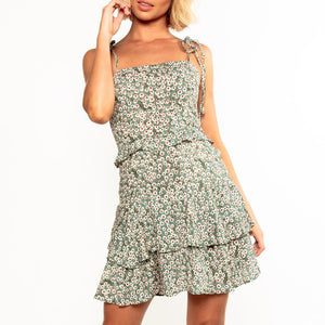 Sexy Backless Sleeveless Sling Floral Dress