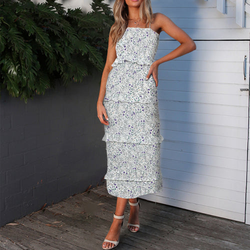 Sexy Wrapped Chest Sling Floral Ruffled Chiffon Dress