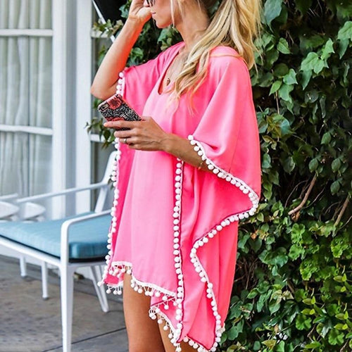 Chiffon Solid Color Tassel Beach Dress Loose Bikini Sunscreen Blouse