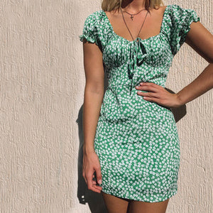 Summer Sexy Floral Print Slim Short-Sleeved Dress