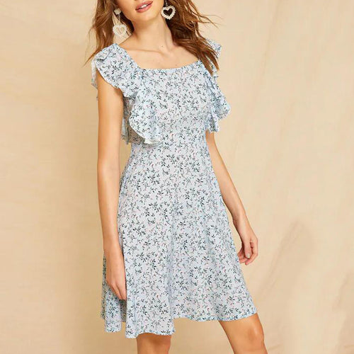 Square Collar Ruffled Sleeves Slim Floral Dress